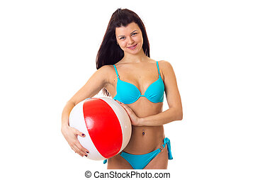 Woman in swimming suit with ball - Young nice woman with...