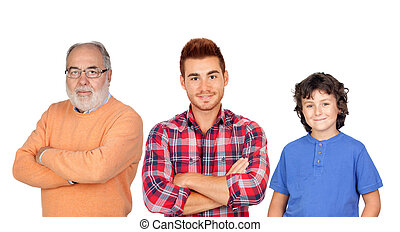 Three generations together, grandfather father and son...