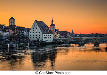The old city of Regensburg, Germany