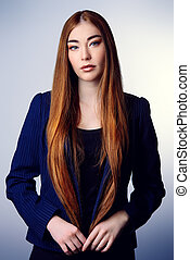 long straight hair - Beauty concept. Young woman with long...
