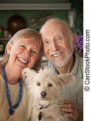 3º edad, pareja, con, perro