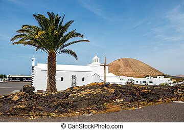Church of Nuestra Senora de los Volcanes in Mancha Blanca,...