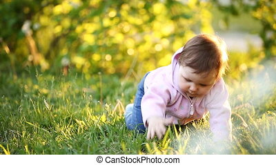 Happy baby-girl crawling on green grass in the park at...