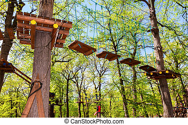 Obstacle course for training against the blue sky in the...
