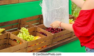 Girl puts fruit in boxes