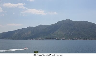 Huge cruise ship in the Bay of Kotor in Montenegro. A...