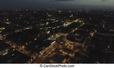 center of Odessa on Deribasovskaya street at night. Aerial...