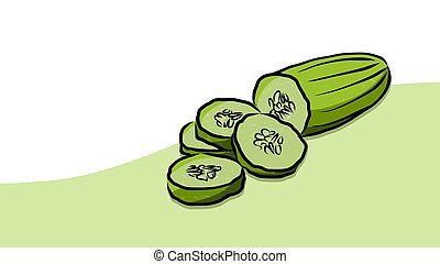 Colored Cuke Vector Card, Fresh Food Collection, Handdrawn...