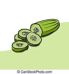 Colored Cuke Vector Artwork, Fresh Food Collection,...