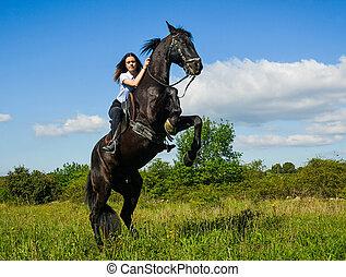 équitation,  girl, jeune