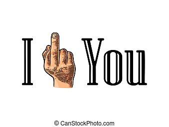 main,  fuck, signe, milieu, doigt, vous,  mâle