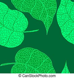 Green doodle hand drawn leaves. - Green doodle hand drawn...