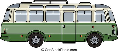 Classic green bus - Hand drawing of an old green autocar