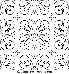 Vector seamless black and white floral pattern.