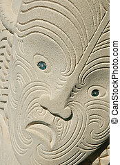 Maori carving in sandstone, tattoo pattern. - Maori Carved...