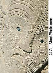 Maori carving in sandstone, tattoo pattern. - Maori Carved...