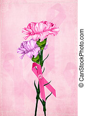Carnation Bouquet - Pink ribbon with carnation bouquet