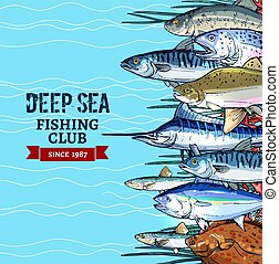 Sea fishing club poster design with fish sketches - Sea...