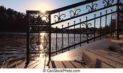 Detail of the an embankment railing. Focus in the center of...