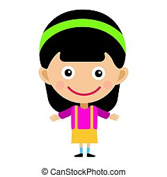 Girl portrait fun happy young expression cute teenager cartoon character little kid flat vector illustration.