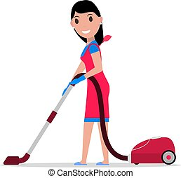 Vector cartoon girl with a vacuum cleaner - Vector...
