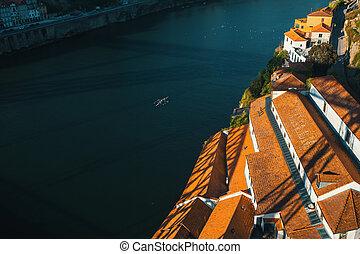 Banks of the Douro river, Vila Nova de Gaia, Porto Portugal.