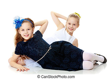 Little Caucasian girl twins. - Beautiful little twin girls...