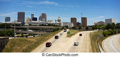 cidade, pressa,  Geórgia, hora,  car, centro cidade,  Skyline, Entrar,  Atlanta, Rodovia