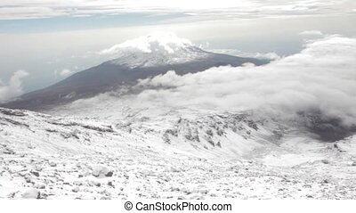 Landscape on top of Kilimanjaro mountain, Tanzania - Track...