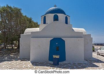 White church in Parakia, Paros island, Cyclades