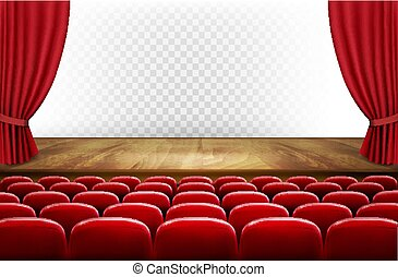 Rows of red cinema or theater seats in front of transparent...