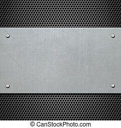 metal plate with rivets background 3d illustration - metal...