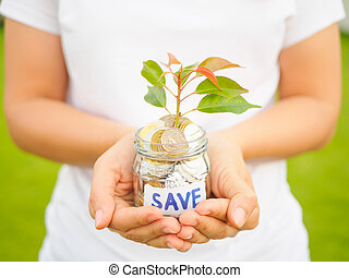 Women hand holding plant growing out of coins in glass jar on the green grass