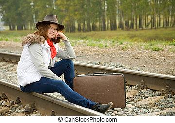 Woman on  railway
