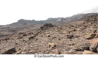 Downhill from the summit of Kilimanjaro - Track on...