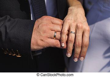 他們, 新郎, 戒指, 新娘, 手指, 婚禮, 戒指, 手