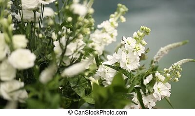 White floral compositions at the wedding in Montenegro....