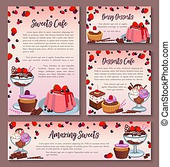 Pastry design templates set of dessert cakes - Desserts and...