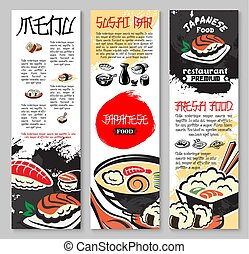 Vector banners set for sushi or seafood restaurant - Sushi...