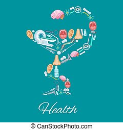Health poster in Hygieia Bowl symbol and medicines - Health...