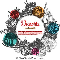 Pastry vector poster of sketch dessert cakes - Desserts...