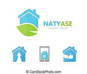 Vector of real estate and leaf logo combination. House and...