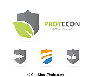 Vector of shield and leaf logo combination. Security and eco...