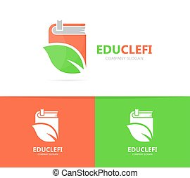 Vector of book and leaf logo combination. Library and eco...