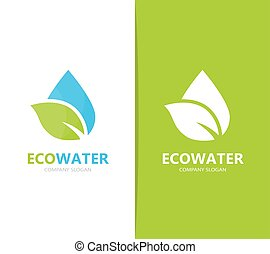Vector of oil and leaf logo combination. Drop and eco symbol...