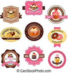 Vector icons set for pastry dessert cakes - Desserts vector...