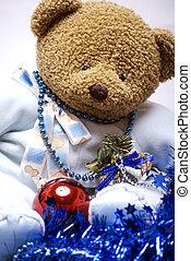 urso, macio, Natal, Decorações