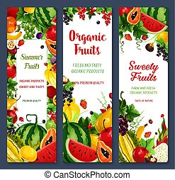 Vector banners of tropical fruits or fresh berries