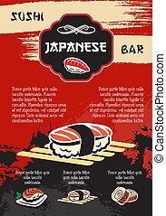 Vector sushi or seafood restaurant menu poster - Sushi bar...