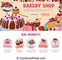 Vector landing page for bakery shop desserts - Bakery shop...